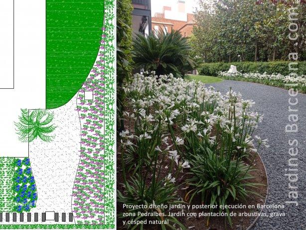 Jardiner�a Mon�s reliz� el proyecto de dise�o de este. Posteriormente hemos ejecutado el proyecto. Jardin en Barcelona zona de Pedralbes con plantaci�n de arbustivas, c�sped natural, gravas, riego por difusores y riego por goteo.