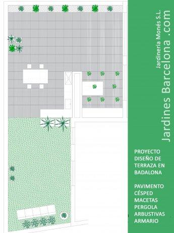 Jardineria Mon�s realiz� este proyecto de dise�o de una terraza. Dise�o de una terraza en Badalona con pavimento elevado, pergola met�lica, c�sped artificial, jardineras y plantaciones de arbustivas, riego autom�tico y mobiliario de cocina con madera de p