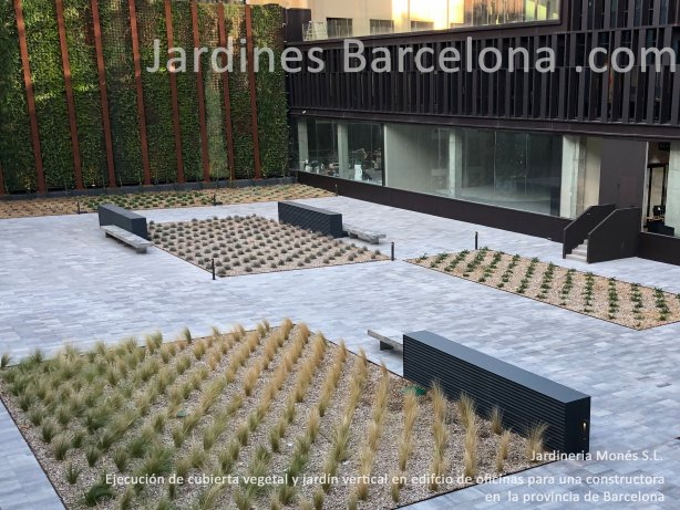 Ejecuci�n de cubierta vegetal i jard�n vertical en un edificio para constructora en Barcelona con lamina drenante, mallas, gravas, sustratos i plantaciones